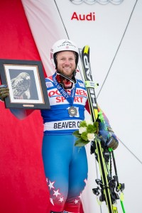 New York State's Andrew Weibrecht celebrates his first-ever World Cup podium finish on Saturday in Beaver Creek, Colo. (photo:  Justin Samuels/U.S. Ski Team)