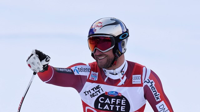 Norwegian Aksel Lund Svindal celebrates another World Cup win on Friday in Val Gardena, Italy. (photo: FIS/Agence Zoom)