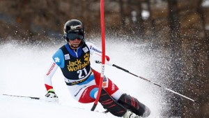 Swiss skier Lara Gut records the fastest time in Friday's slalom run to win the Val d'Isere Combined. (photo: FIS/Agence Zoom)