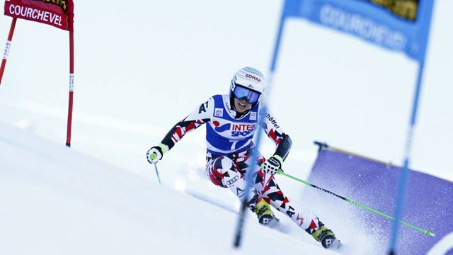 Eva-Marie Brem races to victory in Sunday's World Cup giant slalom in Courchevel, France. (photo: FIS/Agence Zoom)