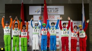 China claims the win in men's aerials team event in Beijing on Sunday ahead of Belarus and Russia. (photo: FIS/Ronnie Yan)
