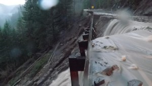 One of several areas of Washington Route 12 damaged by heavy rains this week, cutting off White Pass ski area. (photo: WSDOT)