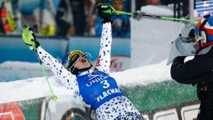 Slovakia's Veronika Velez Zuzulova celebrates her third World Cup slalom victory on Tuesday night under the lights in Flachau, Austria. (photo: Agence Zoom/FIS)