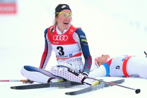 Sophie Caldwell of USA celebrates winning the Ladies 1.2km Classic Sprint Competition during day 1 of the FIS Tour de Ski event on January 5, 2016 in Oberstdorf, Germany. (photo: Alexander Hassenstein/Bongarts/Getty Images)