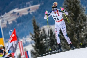 Jessie Diggins skates to victory in Toblach, Italy on Friday. (photo: Getty Images/Agence Zoom-Stanko Gruden via USST)