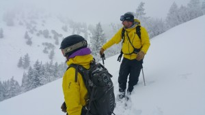 Guide Gina Thomason and mountain ops manager Tommy Keating prepare for our last run. (photo: FTO/Marc Guido)