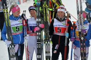 Sadie Bjornsen, Jessie Diggins, Sophie Caldwell and Liz Stephen celebrate their second place in a World Cup 4x5k relay on Sunday in Nove Mesto, Czech Republic. (photo: Getty/AFP-Michal Cizek via USST)