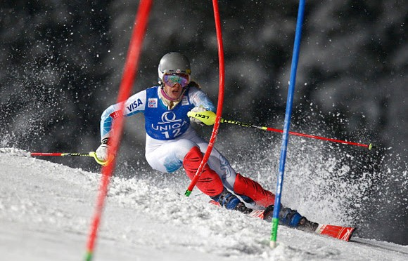 Resi Stiegler competes during the World Cup slalom on Tuesday night in Flachau, Austria. (photo: Getty/Agency Zoom-Christophe Pallot)
