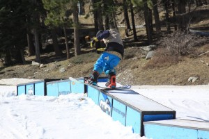 A skier rides a box feature on Sunday at Mountain High Resort in Wrightwood, Calif. (photo: Mountain High Resort)