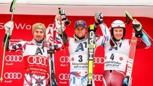 Sunday's World Cup giant slalom podium in Hinterstoder, Austria. (photo: FIS/Agence Zoom)