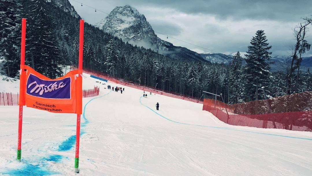 The downhill track in Garmisch-Partenkirchen, Germany is wet but ready. (photo: Laurenne Ross)