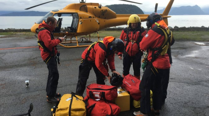 Members of North Shore Rescue stage out of Sunset Marina, north of Horseshoe Bay, awaiting a break in the weather on Saturday to search for a missing snowboarder near Cypress Mountain Ski Area. (photo: North Shore Rescue)