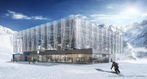 An architect's rendering of the top terminal of Soelden's new Giggijochbahn Gondola. (image: Obermoser)