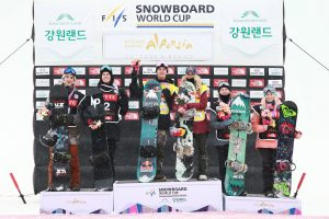 Women's and men's podium of Olympic test event big air World Cup staged at Alpensia Ski Stadium in South Korea on Nov 26, 2016 shows (L to R): Ryan Stassel (USA) 3rd, Max Parrot (CAN) 2nd, Mark McMorris (CAN) 1st, Anna Gasser (AUT) 1st, Julia Marino (USA) 2nd and Katie Ormerod (GBR) 3rd. (photo: LOC)