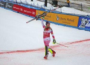 Mikaela Shiffrin celebrates victory in Killington last winter. (FTO photo: Martin Griff)