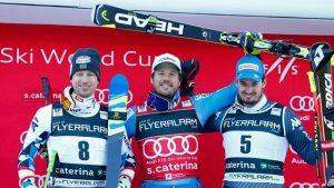 Tuesday's Super G podium in Santa Caterina, Italy. (photo: FIS/Agence Zoom)