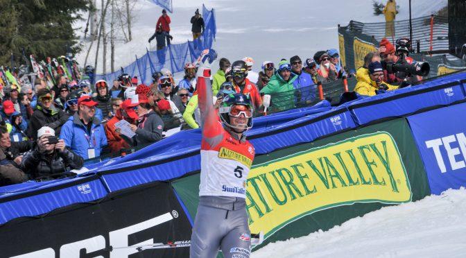 Ryan Cochran-Siegle celebrates in the finish area at the 2016 Nature Valley U.S. Alpine Championships at Sun Valley, Idaho last March. (file photo: U.S. Ski Team)