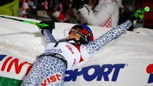 Slovakia's Veronika Velez Zuzulova celebrates victory tonight in Zagreb, Croatia. (photo: FIS/Agence Zoom)
