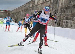 Alaska's Kikkan Randall races in Quebec City during a World Cup stop in 2012. (file photo: Cephas)