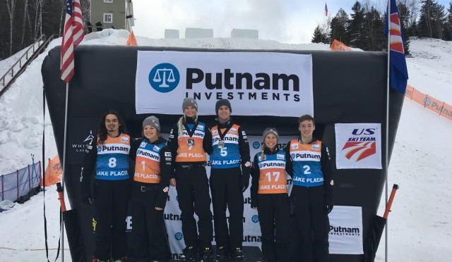 L to R: Eric Loughran, Ashley Caldwell, Kiley McKinnon, Mac Bohonnon, Winter Vinecki and Chris Lillis were the top U.S. finishers at the aerials nationals held in Lake Placid, N.Y. on Thursday. (photo: USSA)