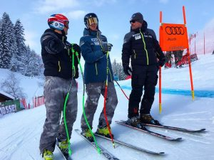 Steven Nyman and Bryce Bennett get their first look this week at the famed Streif downhill track in Kitzbuehel, Austria. (photo: Instagram/US Ski Team)