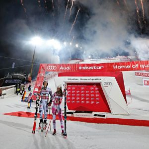 Linus Strasser and Mikaela Shiffrin celebrate their victories on Tuesday night in Stockholm, Sweden. (photo: FIS)
