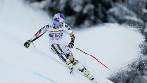 Lindsey Vonn, of Vail, Colo., skis to her 77th World Cup victory on Saturday in Garmisch-Partenkirchen, Germany. (photo: FIS/Agence Zoom)
