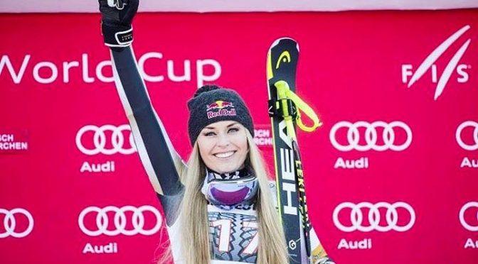 Lindsey Vonn back on the podium in Garmisch. (photo: Instagram/Lindsey Vonn)