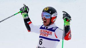 Austria's Marcel Hirscher celebrates a World Championship giant slalom gold in St. Moritz, Switzerland today. (photo: FIS/Agence Zoom)
