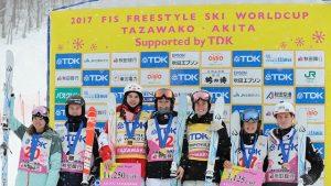 Sunday's Tazawako dual moguls podium. (photo: Hiroyuki Sato/Satton Press via FIS)
