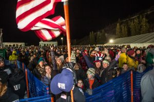 An estimated 10,000 fans were on hand Saturday night to watch World Cup dual moguls action at Deer Valley Resort in Park City, Utah. (photo: Steven Earl)