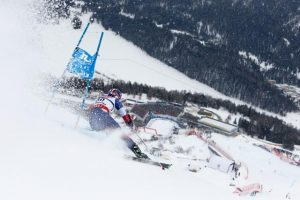 David Chodunsky, of Crested Butte, Colo., speeds toward the finish area in Friday's World Championships giant slalom in St. Moritz, Switzerland. (photo: Getty Images/Agence Zoom-Alexis Boichard via USSA)