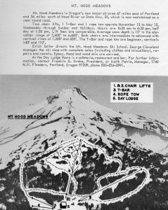 An announcement shows the original lifts, lodge and runs of the inaugural 1967/68 season at Mt. Hood Meadows. (photo: Mt. Hood Meadows)