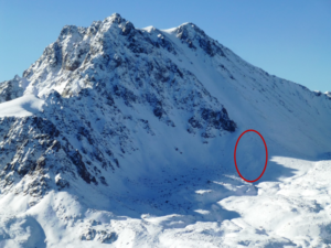 Saturday's avalanche occurred in a wind-loaded zone low on Imp Peak (10,100') in Montana's Madison Range. (photo: Gallatin National Forest Avalanche Center)