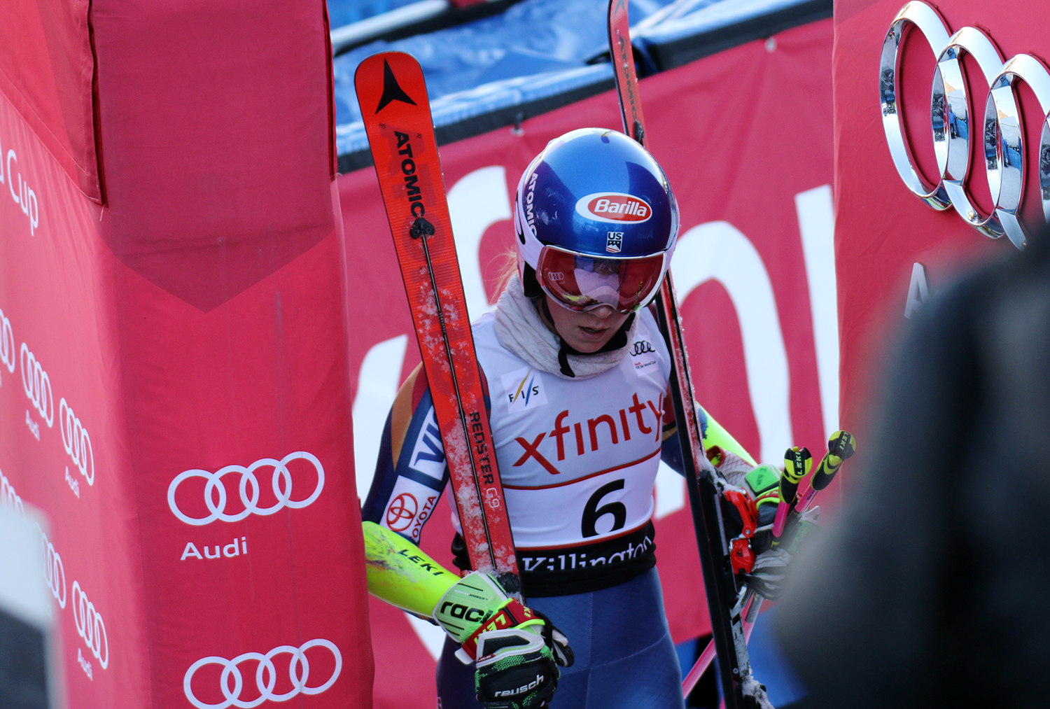 U.S.A.'s Mikaela Shiffrin leaves the finish area after competing in the first run at the women's Audi FIS Ski World Cup giant slalom race at Killington in Vermont on Saturday, November 25, 2017. (FTO photo: Martin Griff)